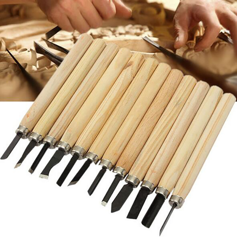 12pcs/Set Wood Carving Chisels Knife For Basic Wood Cut DIY Tools And Detailed Woodworking Hand Tools