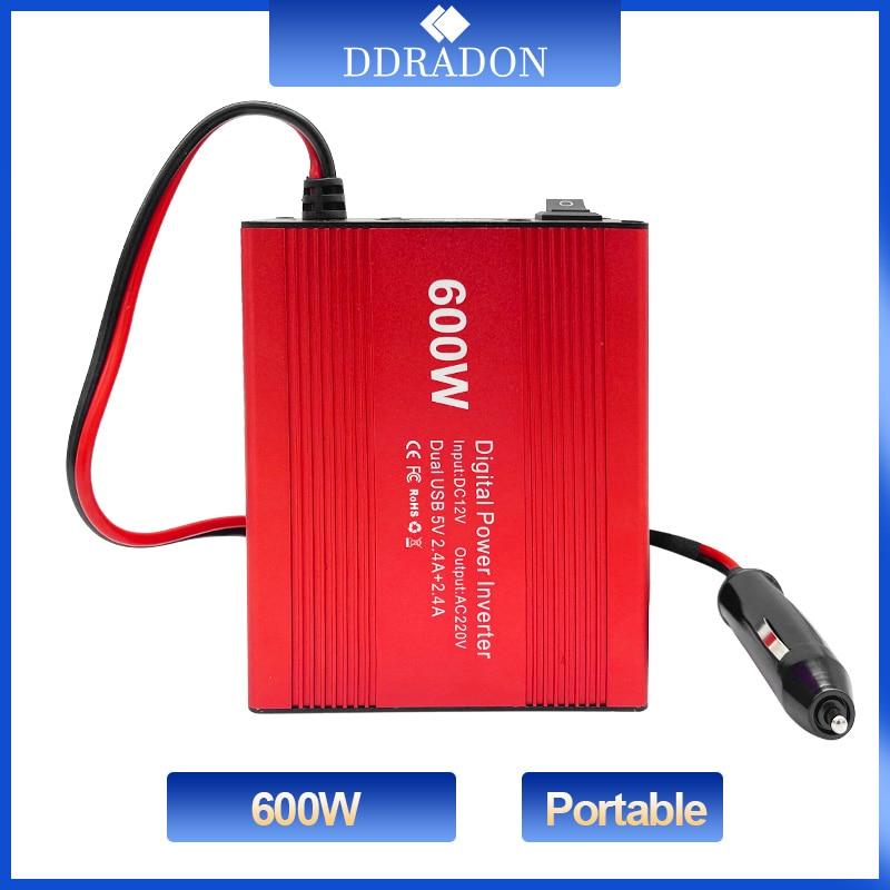 600W Car Power Inverter 12V 220V and AC 110v Auto Converter Transformer Power Converter Modified Sine Wave Universal Socket