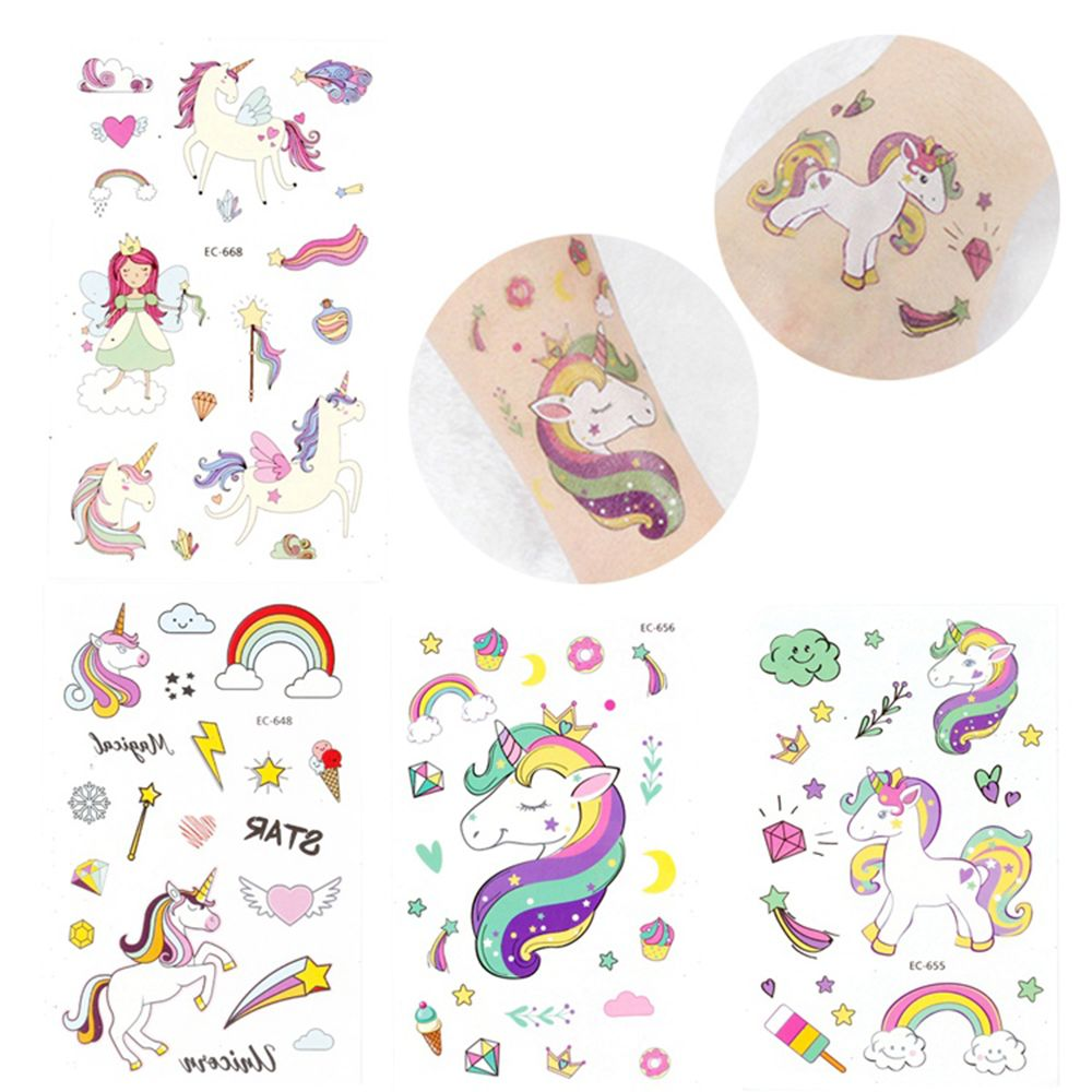 5Pcs Disposable Tattoo Sticker Unicorn Mermaid Party Decoration Baby Kids Unicorn Birthday Party Favors Temporary Party Supplies