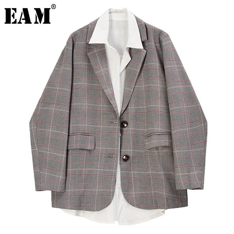 [EAM]  Women Khaki Split Joint Two Piece Blazer New Lapel Long Sleeve Loose Fit  Jacket Fashion Tide Spring Autumn 2020 1R723