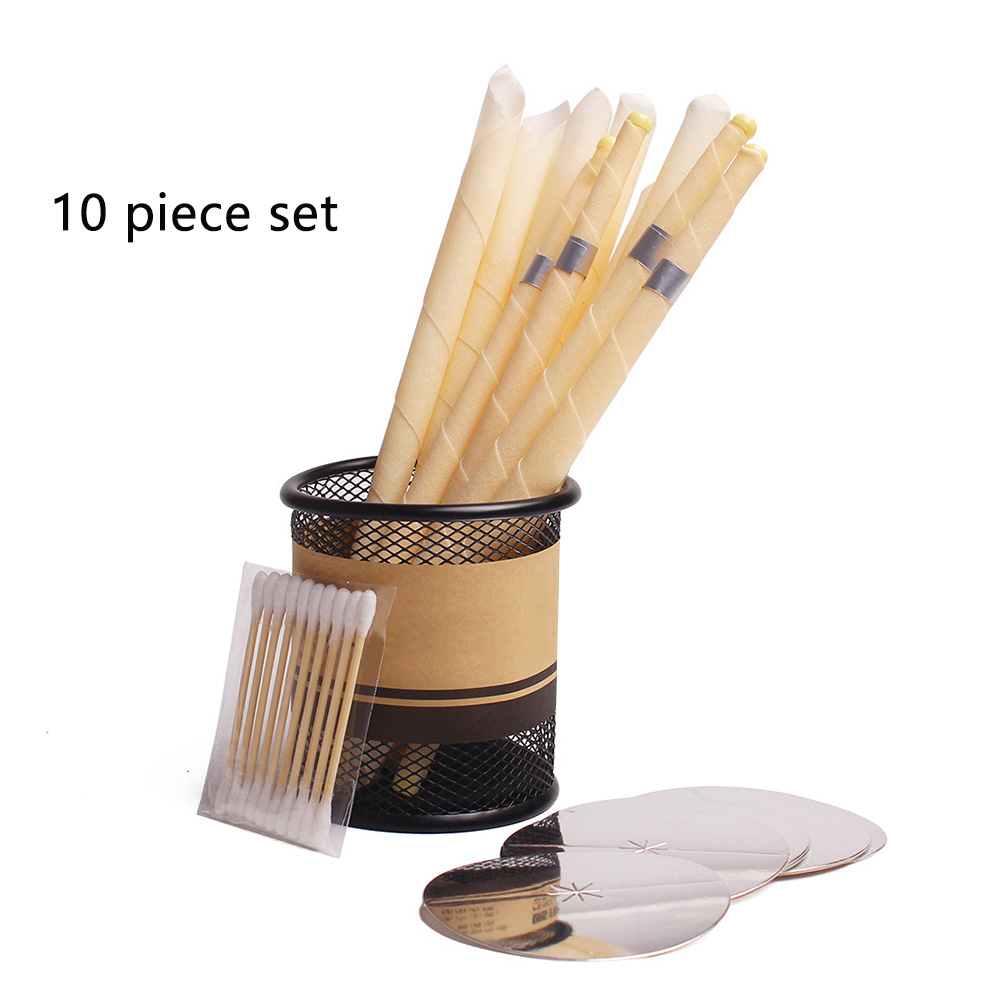 Portable Treatment Ear Candle Set Decompression Aromatherapy Beeswax Cones Round Tray Horn Earplug Home Cleaning Relaxing