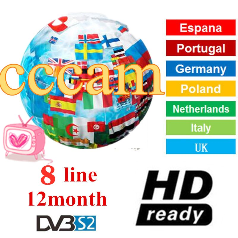 CCCams 8 lines Fast for Satellite tv Receiver DVB-S2 via USB Wifi Spain Italy Portugal Germany Europe Cccam image