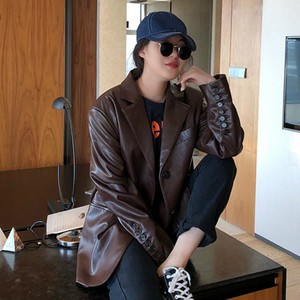 Image 3 - LANMREM 2020 jednokolorowy Pu skórzany luźny, z klapami jednorzędowy vintage kurtka z charakterem jesień nowy szczupły płaszcz kobiety 19B a563
