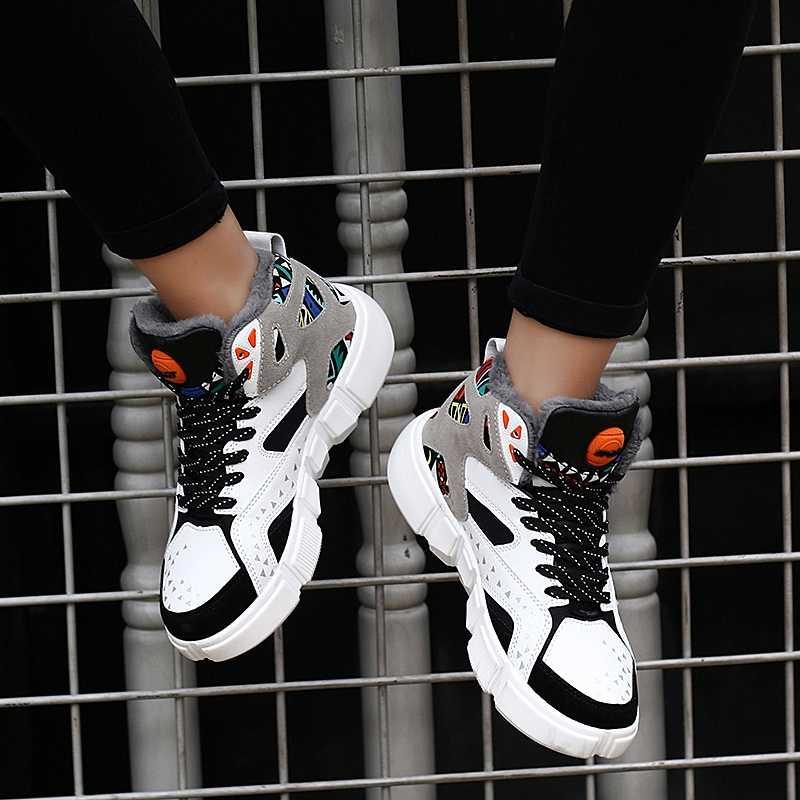 ERNESTNM высокие кроссовки; теплая зимняя плюшевая женская обувь; кроссовки на платформе с граффити; Белая обувь для влюбленных; Zapatos De Mujer; Размер 11