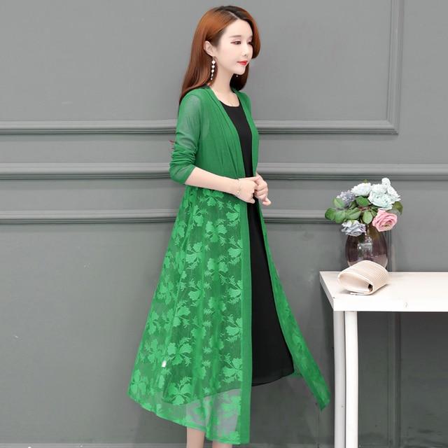 Women Cardigans Long Kimonos Summer Long Sleeve Sun-protection Lace Floral Long Coats Plus Size XL~4XL 5XL Casual Lady Cardigan 6