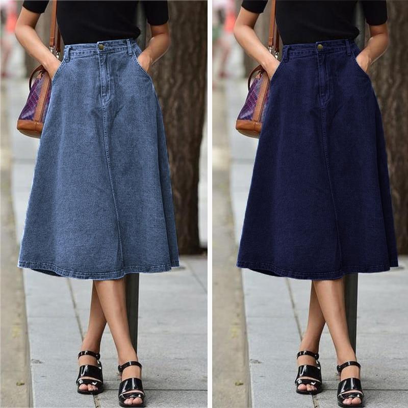 Woemn Midi Skirts 2020 Summer ZANZEA Fashion High Waist Pockets Skirt Female Solid Cotton Linen Faldas A-line Mid Calf Skirts