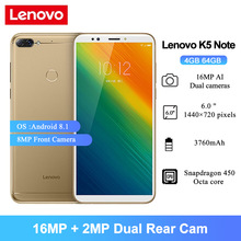 Lenovo Snapdragon 450 K5 Note Smartphone 64GB 4gbb Octa Core Fingerprint Recognition
