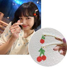 Mengjiqiao Корейская ТВ звезда модные заколки для волос с вишенками