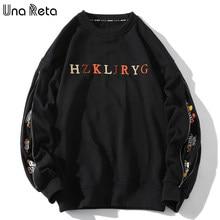 Ununa reta moletom dos homens moda nova hip-hop hoodies casuais bordado agasalho harajuku uma peça com zíper camisolas