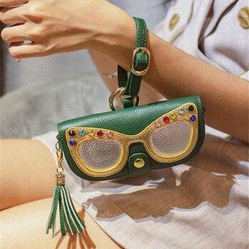 Ins 2020 Genuine Cartoon Leather Eyewear Case Hanging Sun Glasses Case Bag Men Women Box Frames Sunglasses Bags Cover