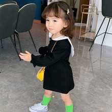 купить Children New Autumn 0-5T Baby Girl Dresses Cute Cartoon Print Lapel Toddler Girl Princess Long-Sleeved Sweet Princess Dress #m онлайн