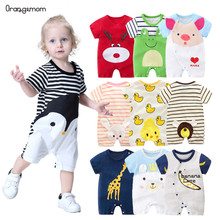 2020 Baby rompers summer style duck baby boy clothes newborn girl short sleeve Baby clothes children #8217 s Clothes baby clothing cheap OrangeMom COTTON cartoon O-Neck Covered Button Unisex Full Fits true to size take your normal size