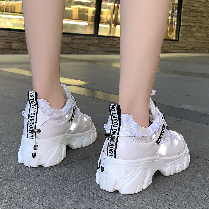 WDHKUN 2020 Spring New Leather Women's Platform Chunky Sneakers Fashion Women Flat Thick Sole Shoes Woman Dad Footwear F986