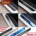 Tesla Model 3 Car Door Sill Decorative Scuff Plate Guards Carbon Fiber Sticker Protection Strip For Model3 2017-2021Car Stickers