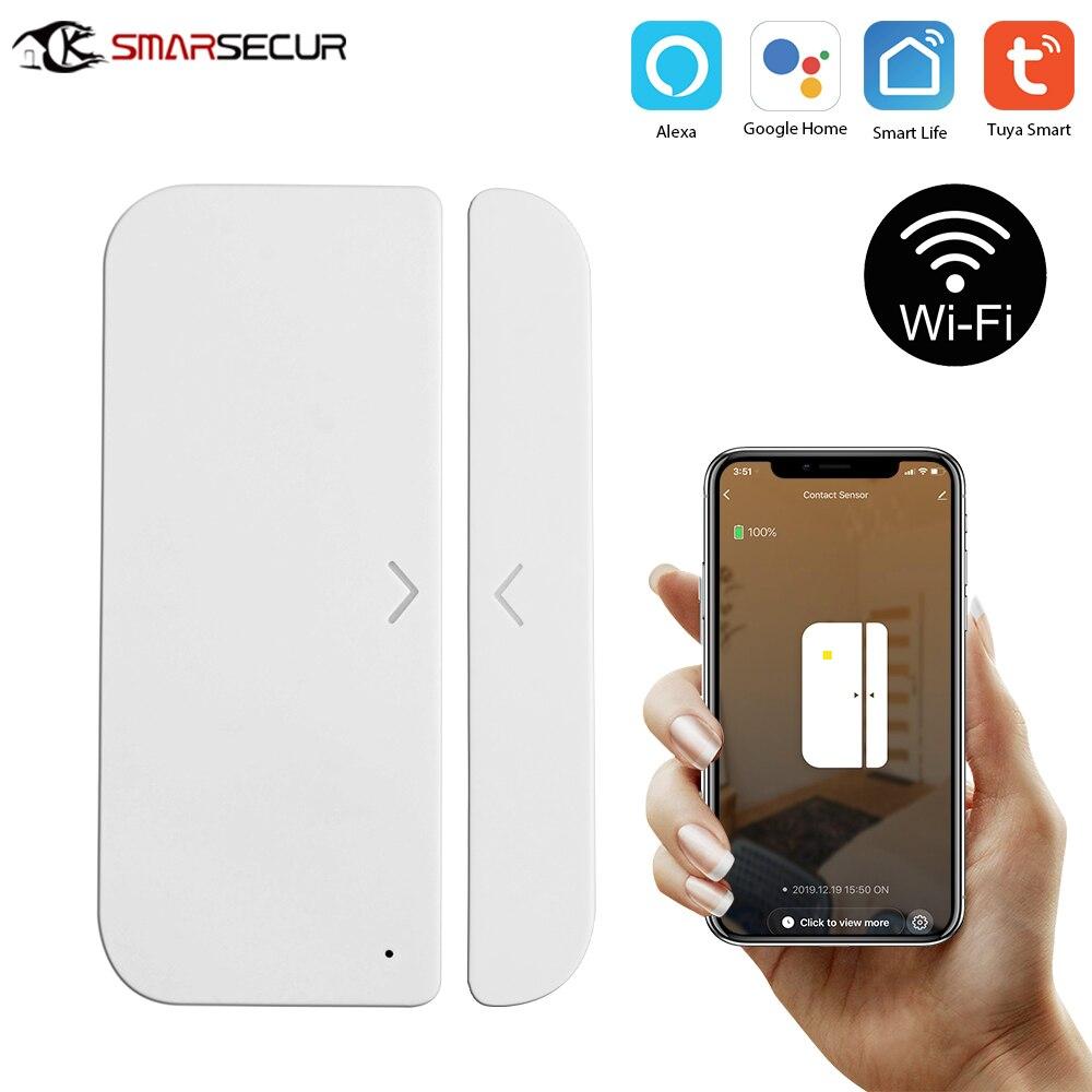 Tuya Smart WiFi Door Window Sensor Magnetic Detector Door Open / Closed Detectors APP Control Work With Amazon Alexa