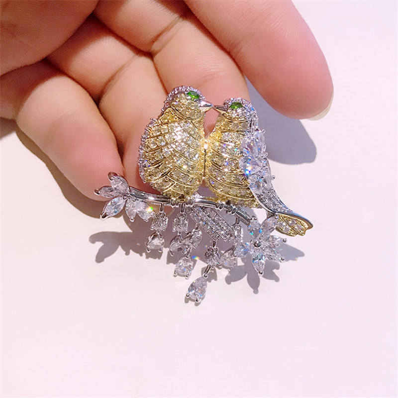 #BIRDLOVE-BR1 Unique Sterling Silver Bird Lovers BroochPin FREE SHIPPING