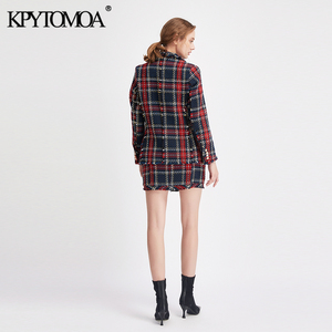 Image 5 - Vintage Double Breasted Frayed Checked Tweed Blazers Coat Women 2020 Fashion Pockets Plaid Ladies Outerwear Casual Casaco Femme
