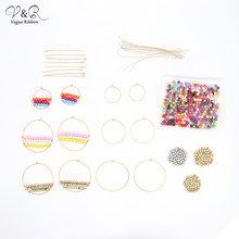 DIY Handmade Jewelry Making Multiple Color Bead Charms Pendants Hoop Earring Set Components Fashion Accessories Gift DIY-138(China)