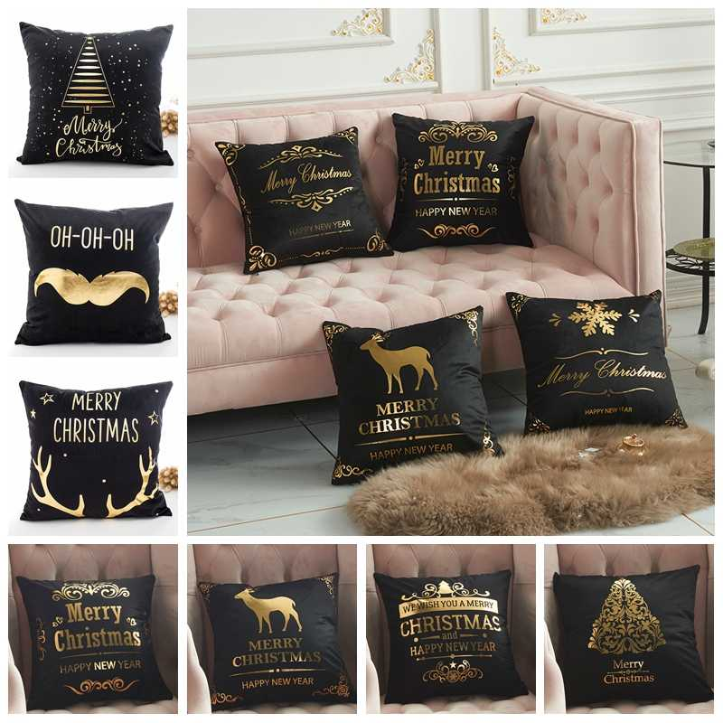 Wesołych świąt bożego narodzenia poszewki na poduszki 45cm * 45cm Retro złote tłoczenie poszewka na poduszkę Home poszewka ciepłe krzesło poszewki na poduszki do sypialni
