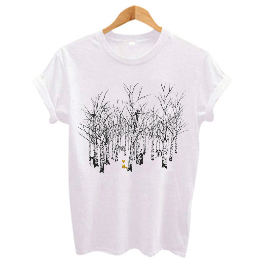 Newest Women T Shirt Interesting Forest Animal Printed T-shirt Short Sleeve O-neck Breathable Women Tee Shirt Tops