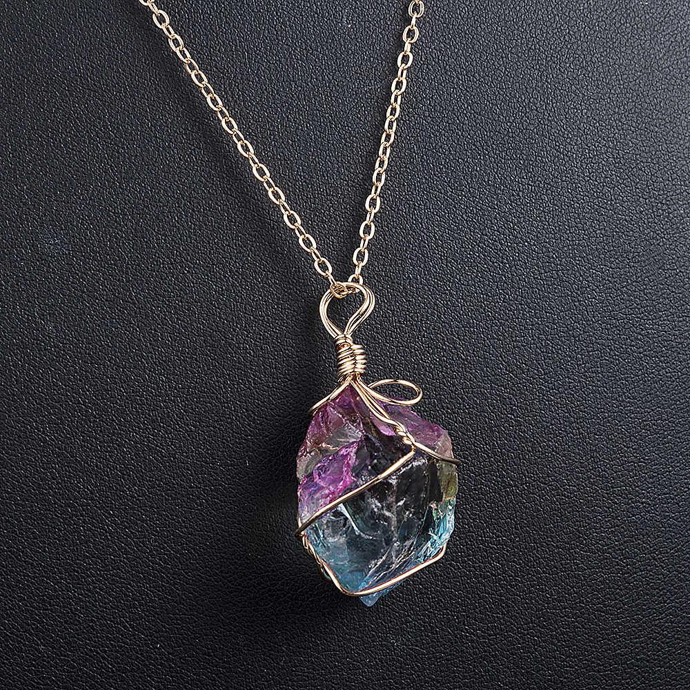2019 Новая мода женщин Радуга камень натуральный кристалл чакра рок цепь ожерелье кварц кулон ювелирные изделия