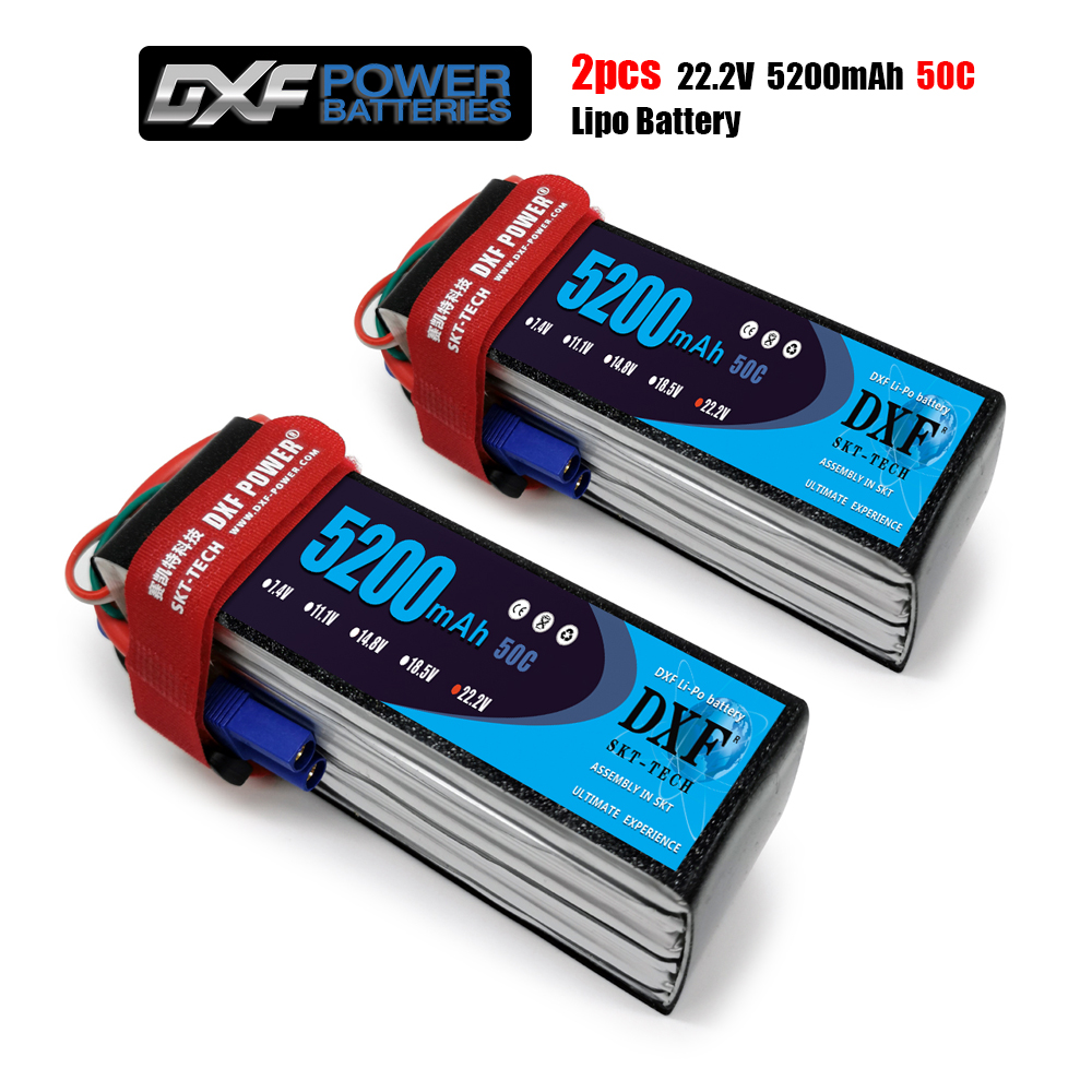 DXF <font><b>6S</b></font> 22.2V <font><b>5200mah</b></font> 50C-100C <font><b>Lipo</b></font> Battery <font><b>6S</b></font> XT60 T Deans XT90 EC5 50C For Racing FPV Drone Airplanes Off-Road Car Boats image