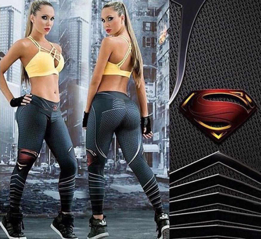 New 3D Printing Superman Fitness Leggings Women Jogger Sportwear Stretch High Waist Pants Trousers Workout Legging