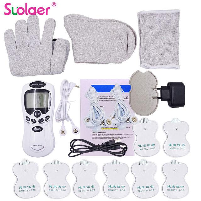 1 zestaw podwójny kanał 8 dziesiątki jednostka elektroniczna terapia ciała masażer szyi Pulse Meridian maszyna stymulator mięśni rękawice skarpety Bracer