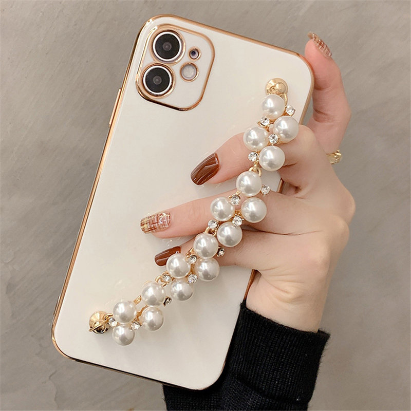 For iPhone 12 11Pro Max Cases 6D Plating Pearl Chain Phone Case For iPhone 11 Pro Max XR XS Max 7 8 Plus X Wrist Band Soft Cover