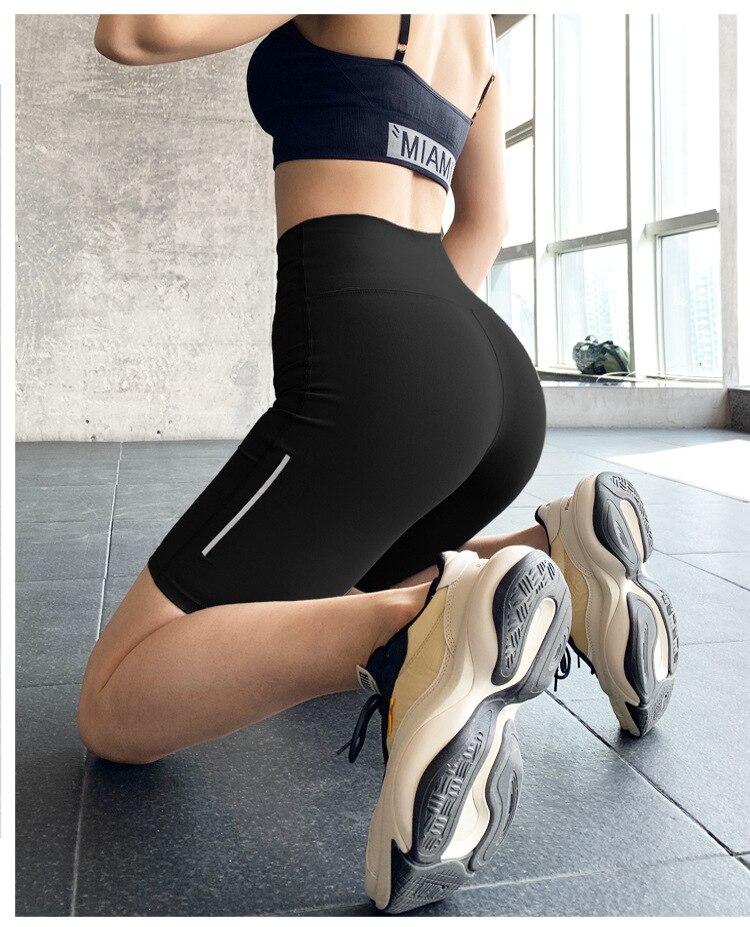 Γυναικείο αθλητικό ψηλόμεσο σορτς εφαρμοστό για γυμναστήριο και γιόγκα msow