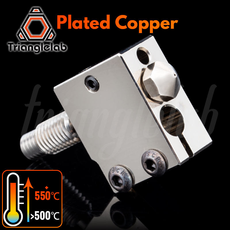 trianglelab Plated Copper Volcano Kit Nozzle  Heat BLOCK  TC4 Titanium alloy Heat Break for PETG carbon fiber PEI PEEK ABS NYLON