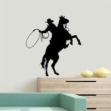 Autocollants muraux en vinyle pour Cowboy, étiquette amovible, pour équitation, Art, affiche murale