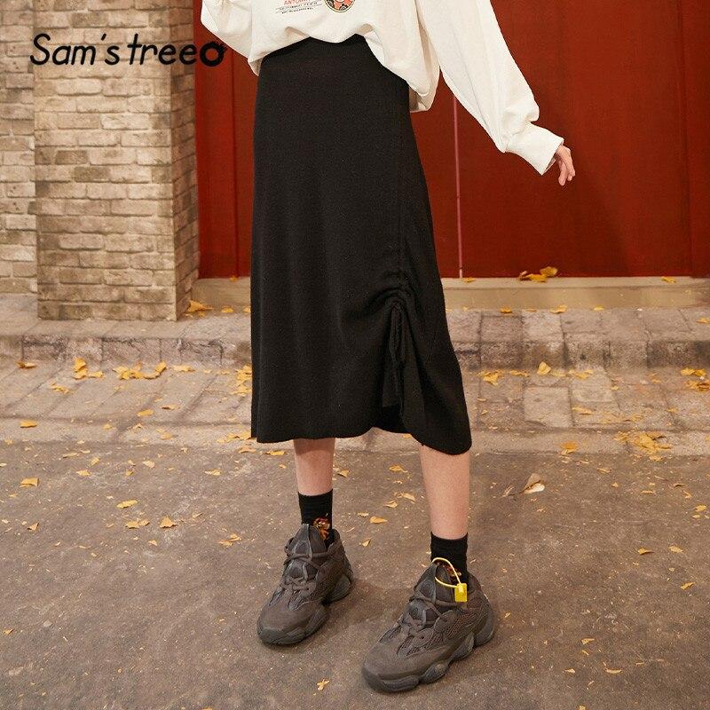 SAM'S TREE Black Solid Knit A Line Knit Skirts Women 2020 Spring Pure Drawstring Korean Irregular Casual Ladies Daily Skirts