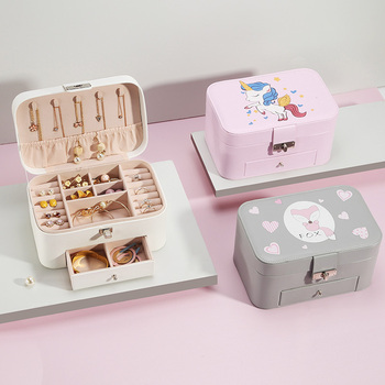 Casegrace 2019 New Cartoon Double Layer Large Jewelry Box PU Leather Display Organizer Storage Case