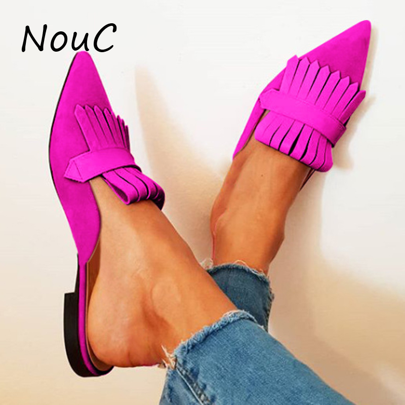 Customized Women Flats Shoes Female Slippers Summer Mules Shoes Candy Color Lady Mules Low Heels Pointe Toe Tassel Slides