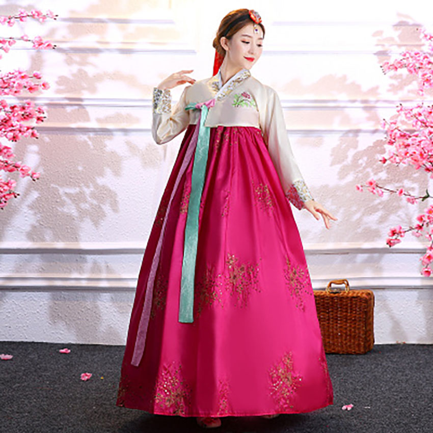 Korean Style Traditional Retuo Vintage Hanbok Dress For Women V-neck Evening Party Dress Hanbok Lady Tunic National Costumes