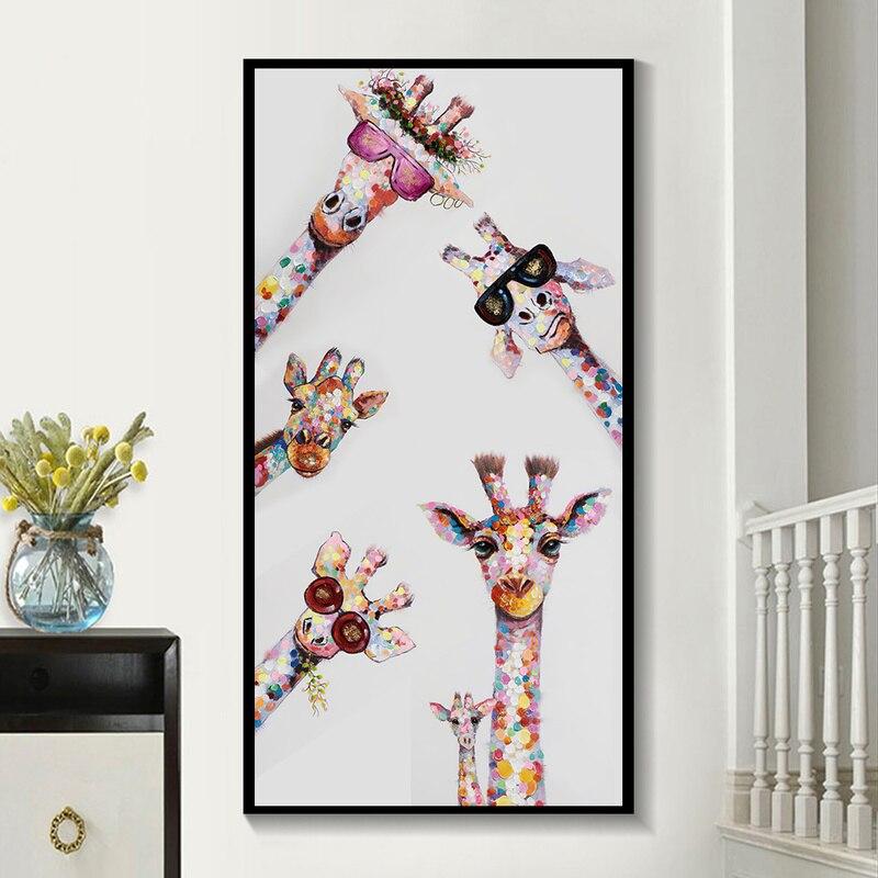 Colorido girafa animal família lona arte posters e impressão cuadros quadros em tela na parede para sala de criança casa decoração imagem Pintura e Caligrafia    -