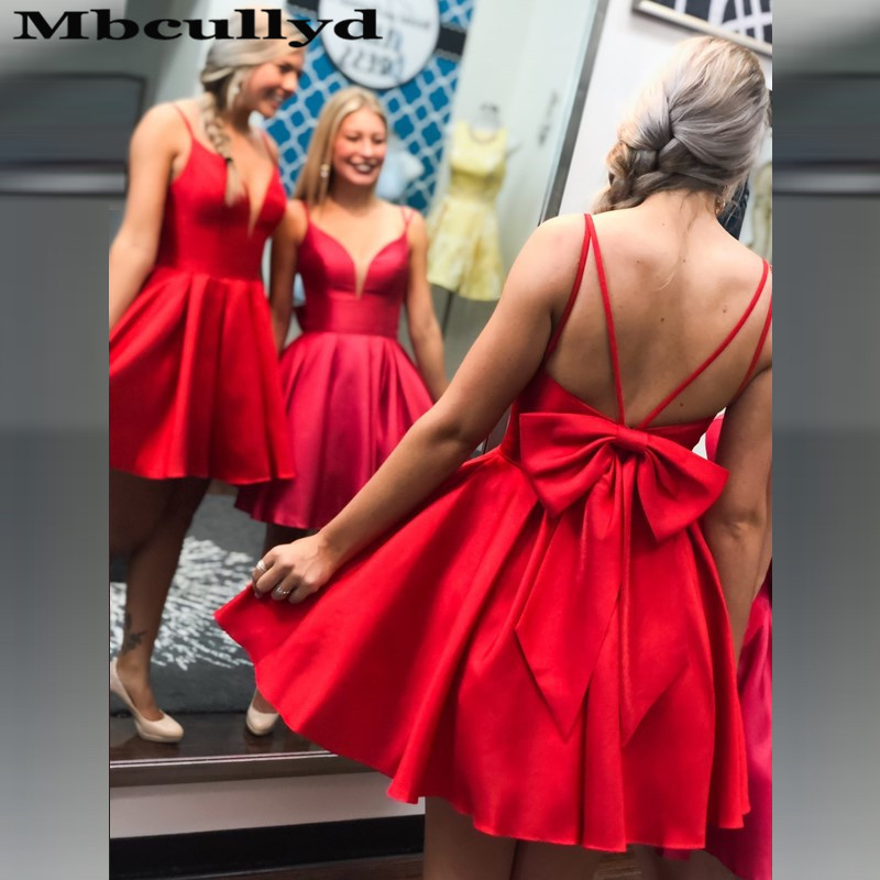 Mbcullyd Red Satin Cocktail Dress For Women 2020 New Fashion Prom Dress With Bow Backless Short Mini Vestidos Coctel Mujer