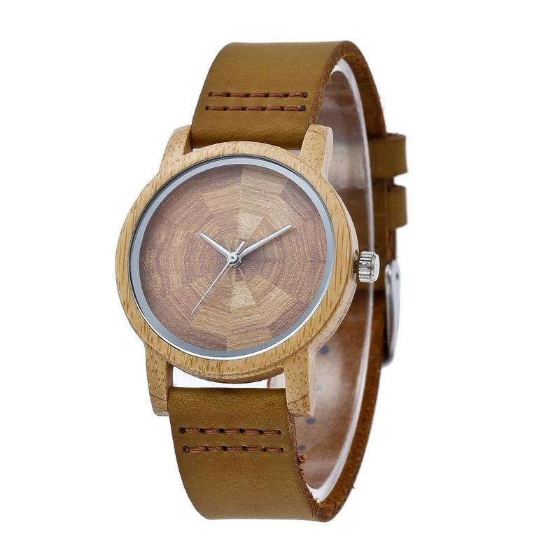 2019 Hot Sale Factory Spot Supply Latest Bamboo Watch Hot Style Cross-border Amazon For Producing Leather Quartz