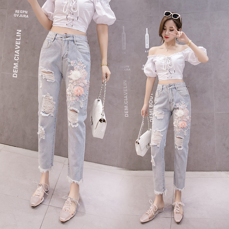 With Holes Jeans Women's 2019 New Style Summer Korean-style Slimming High-waisted Loose Harem Pants Embroidery Capri Straight-le