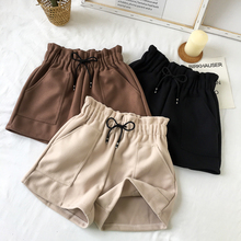 New Women Shorts Autumn And Winter High Waist Solid Casual Loose Thick Warm Elastic Straight Booty Pockets