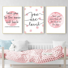 Quotes Print Painting Pink Moon Stars Posters And Prints Nursery Canvas Art Posters Wall Painting For Baby Girl Bedroom Decor майка борцовка print bar girl and moon