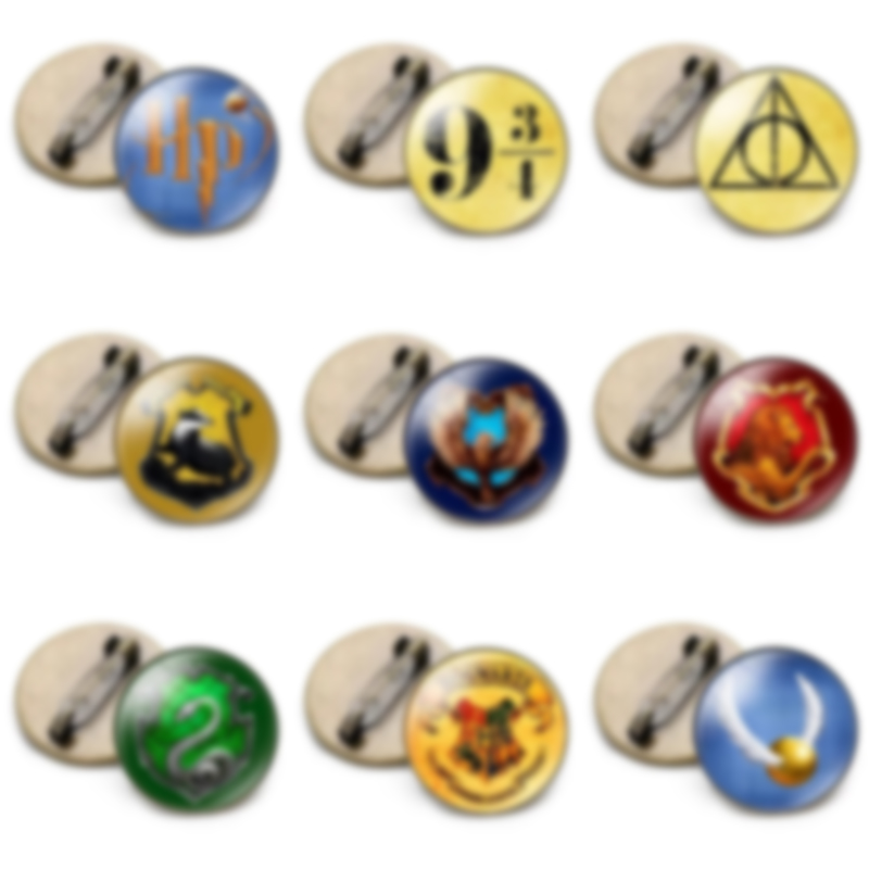 Magic Academy Round Badge Brooch Harried Vintage Time Gem Brooches Bag Clothes Pin Potters Movies Adventure Badge Jewelry Gift