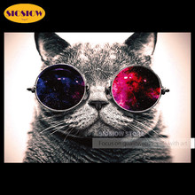 Cool 5D DIY Diamond Painting Cross Stitch Sunglasses Cat Full Drill Square Round