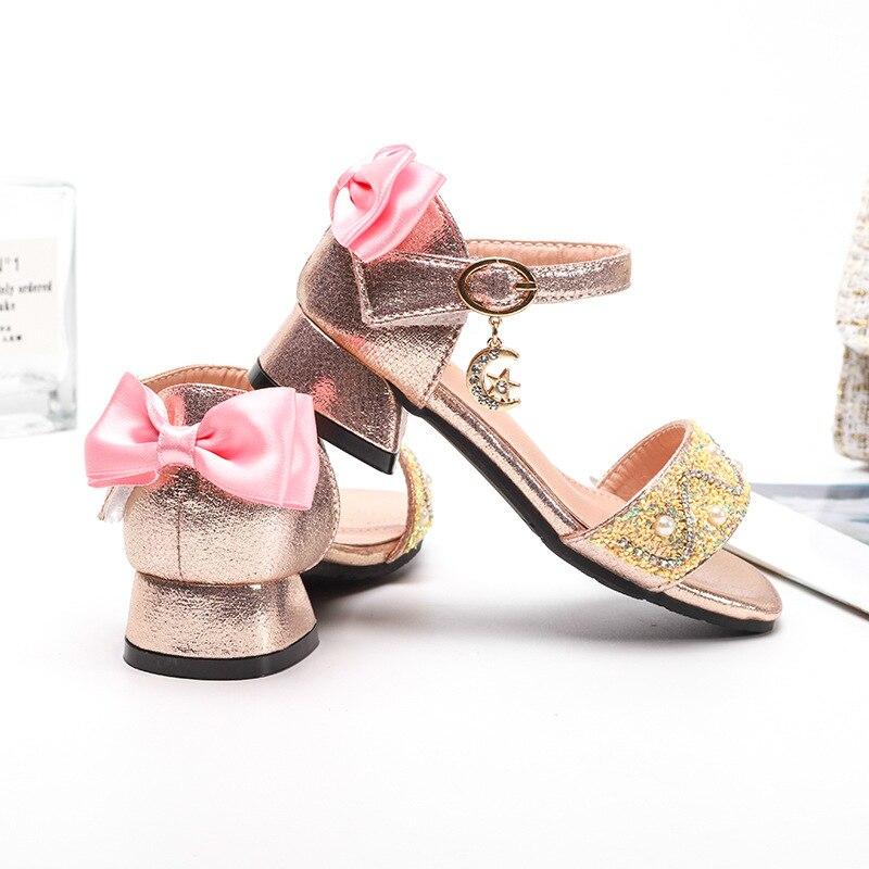 ULKNN Children for shoes Bowtie Rhinestone Fashion Sequins Sandals Princess Girls Kids Leather Soft Bottom
