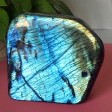 EEN Natuurlijke labradoriet steen Maansteen woondecoratie display pierre stenen en kristallen