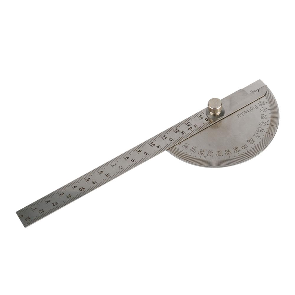 Adjustable 0~180° Stainless Steel Protractor 14.5cm Multifunction Roundhead Angle Ruler Mathematics Measuring Drawing Tool 1 Pc