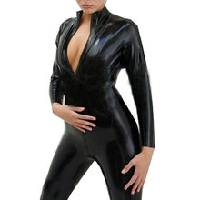 Black Vinyl Jumpsuit Wetlook Catsuit PU Faux Leather Jumpsuit for Women Zentai Latex Catsuit Zip to Crotch Pole Dance Costume(China)