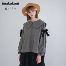 Imakokoni черно белая клетчатая рубашка женская с длинными рукавами