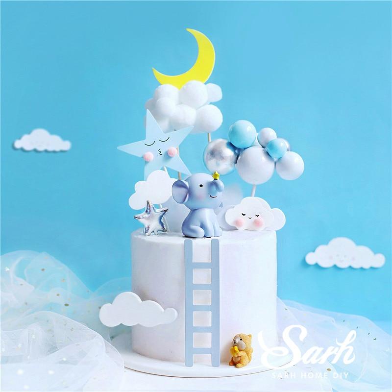 Moon Elephant Star Squirrel Cake Topper for Baby Shower Baking Dessert Birthday Decoration Anniversary Supplies Kid Sweet Gifts